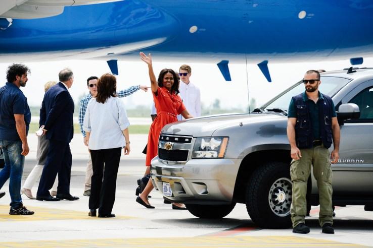 Venezia, arrivo della First Lady Michelle Obama in aeroporto