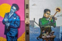 Ces deux nouvelles peintures murales à Harlem ont été réalisées pour célébrer le centième anniversaire de la naissance de Dizzy Gillespie en octobre 1917.