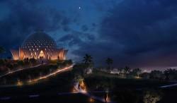Le temple a été conçu par les architectes pour évoquer l'esprit des nombreux différents groupes culturels sur les îles, unifiés dans une structure.
