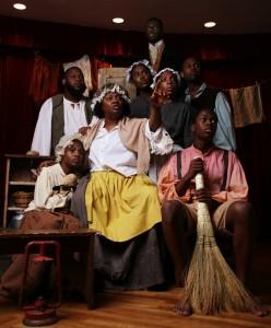 Les membres de la distribution de « Henry Box Brown » interprètent une scène de la comédie musicale qui a eu lieu lors du célèbre festival Fringe à Édimbourg, en Écosse.
