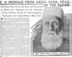 Un article paru dans le « New York Times » du 21 avril 1912 rend compte des entretiens de 'Abdu'l-Bahá lors de sa visite dans la ville.