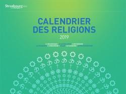 La rosace créée pour le calendrier interreligieux de la ville de Strasbourg est formée des symboles des 8 religions participant régulièrement en Alsace au dialogue interreligieux ainsi qu'au premier Forum des religions qui s'est déroulé du 28 au 31 mars 2019 à Strasbourg.