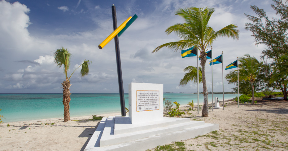 Columbus San Salvador landing site on San Salvador Island Bahamas by Christopher Columbus. Island hop Bahamas on a Bahamas tour.
