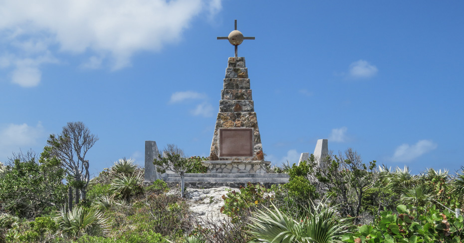 christopher columbus history landing on Long Island Bahamas.