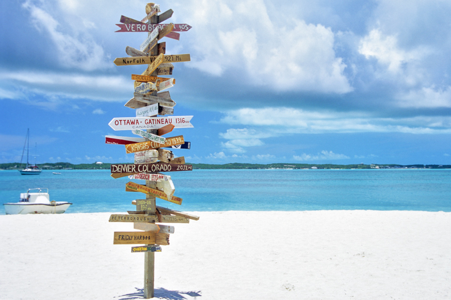 Stocking Island in the Bahamas just off Great Exuma Bahamas can be visited on a tour with flights to Exuma Bahamas from Bahamas Air Tours.