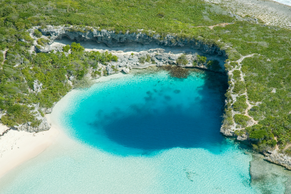 Deans Blue Hole Long Island Bahamas, the world second deepest blue hole. Visit Long Island on a Bahamas Tour island hopping with Bahamas Air Tours