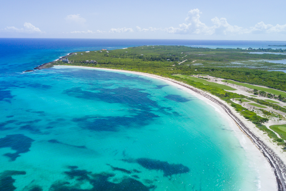 Flights to Bahamas Beautiful Abaco Island, Bahamas in the summertime as seen from above. Abaco is one of the larger islands in the Bahamian island chain.