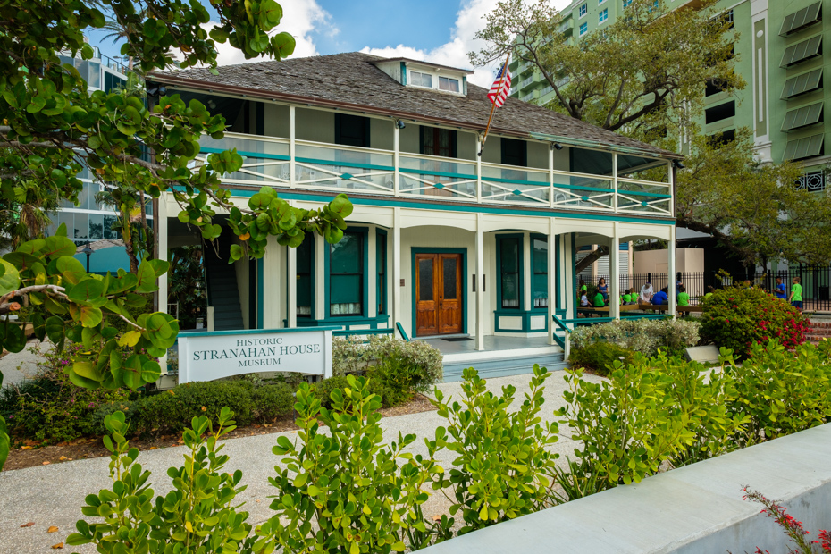 Fort Lauderdale, Florida - March 20, 2018: Cityscape view of the historic Stranahan House Museum in the popular Las Olas Riverwalk downtown district. For all the top things to do in Fort Lauderdale, or what to do in Fort Lauderdale that you haven't thought of yet, check out this comprehensive list of fun things to do in Fort Lauderdale and all Fort Lauderdale activities such us a day tour Bahamas from Bahamas Air Tours.