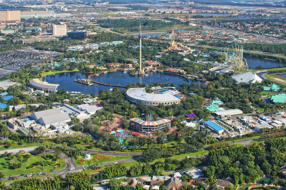 Aerial view of the Sea World Orlando. Best Things to do in Florida include Airboat Rides Florida attractions as well as island getaways. Bahamas Air Tours brings you What to Do in Florida as well as a few Miami Florida Attractions like a Bahamas Day Trip for your next Florida Vacation.