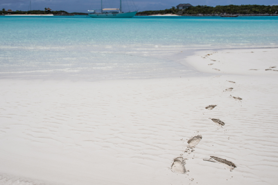 Leave footprints on the Sand Bar in the Exuma Cays on a Staniel Cay Day Trip with Bahamas Air Tours.