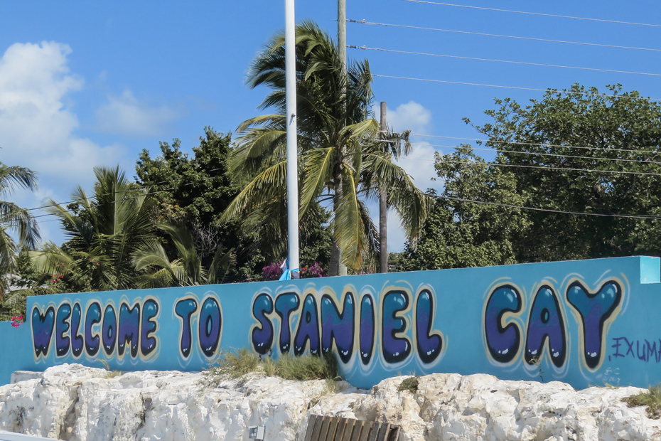 Welcome to Staniel Cay painted on the main Staniel Cay Bahamas Dock