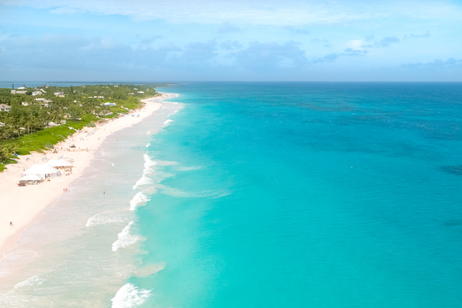 Pink Sands Beach on Harbour Island Eleuthera. Bahamas Air Tours can take you there on a Bahamas day trip from Nassau.