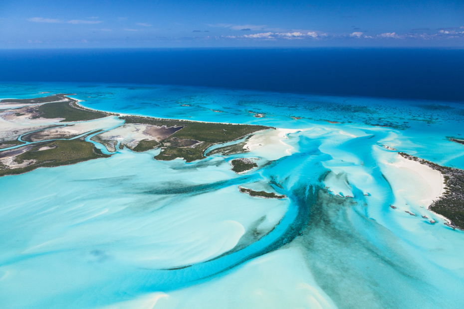 Fifty shades of blue in the Exuma, Bahamas. Exuma Cays are some of the best excursions in Bahamas day trip.