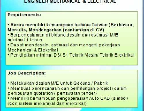Lowongan Mandarin Engineer Mechanical & Electrical