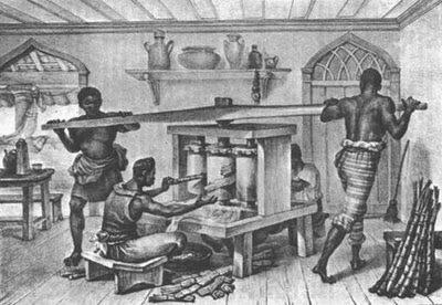 Escravos na moenda. Debret, 1835. Aqui podemos ver uma moenda pequena para uso caseiro.