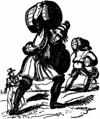 Piratas carregando rum para se comprar escravos como descrito no livro The Pirates Own Book de Charles Ellms.