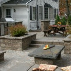 How Much Does An Outdoor Kitchen Cost Country Cottage Designs A Paver Patio Multi Level With Walls Raised Planting Beds And Built