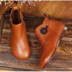Leather Short Boots Women Casual Outdoor Soft Slip On Flat Shoes 10