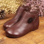 Leather Short Boots Women Casual Outdoor Soft Slip On Flat Shoes 2