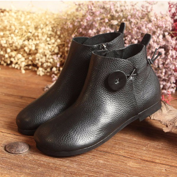 Leather Short Boots Women Casual Outdoor Soft Slip On Flat Shoes 4