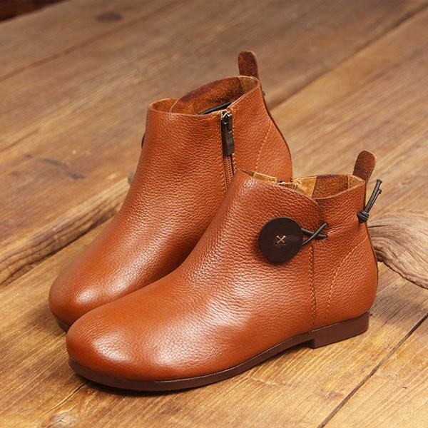 Leather Short Boots Women Casual Outdoor Soft Slip On Flat Shoes 6