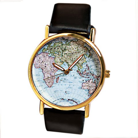 Map Patterned Watch with Round Dial and Leather Watch Band for Women 1