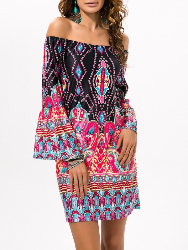 Off The Shoulder Ethnic Style Dress