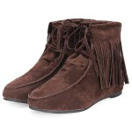 Women Classic Soft Tassels Lace-up Flat Ankle Boots 6