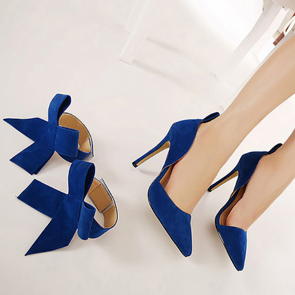 Women Fashion High Heel Suede Artificial Slip On Pointed Toe Thin Heel Pumps Shoes 1