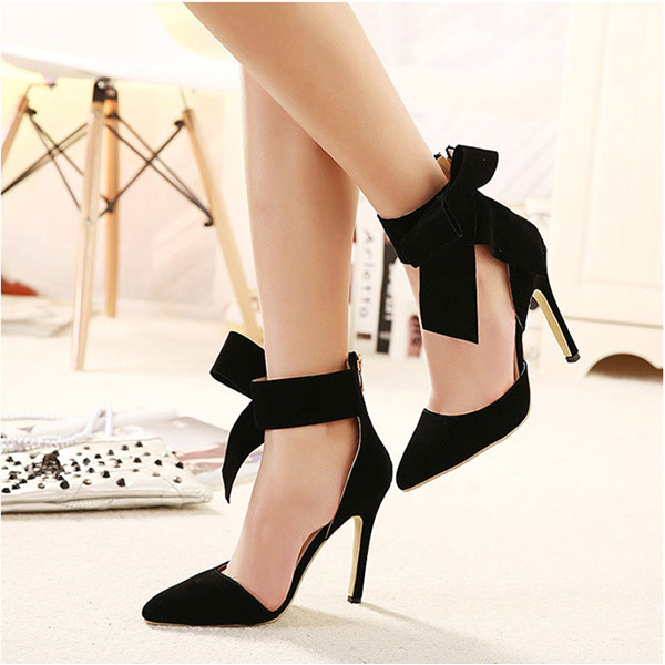 Women Fashion High Heel Suede Artificial Slip On Pointed Toe Thin Heel Pumps Shoes 2