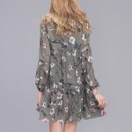 Casual Women Printing Chiffon Long Sleeve Slim Dress (6)
