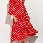 Christmas Polka Dot Maxi Wrap Dress