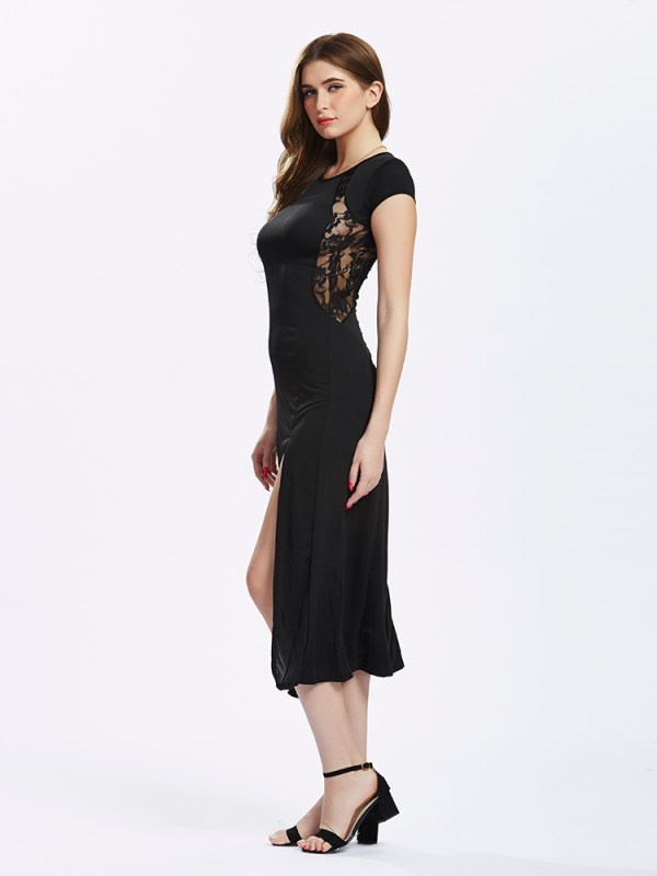 Women Split Long Black Lace Prom Maxi Slit Evening dress (2)
