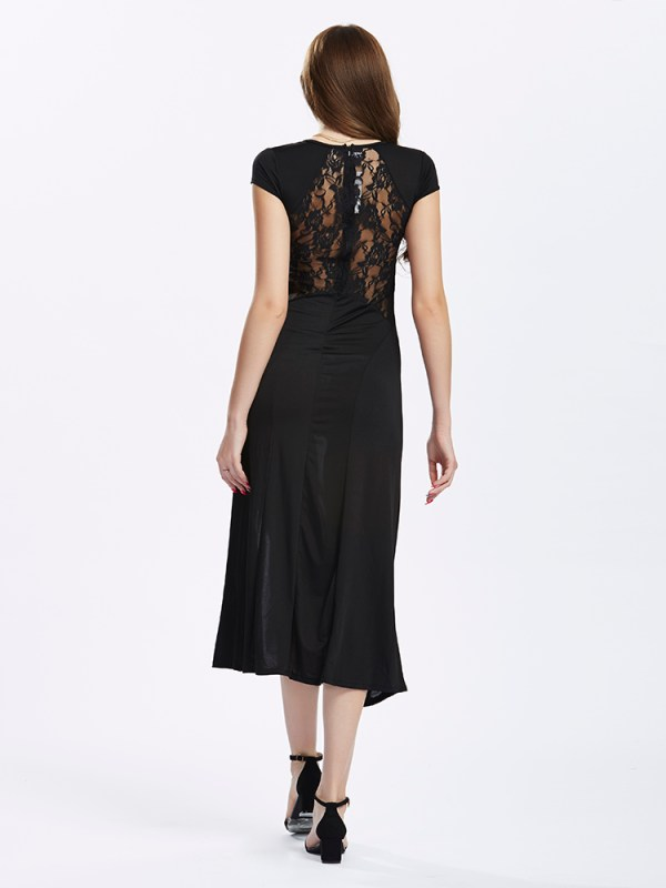 Women Split Long Black Lace Prom Maxi Slit Evening dress (6)