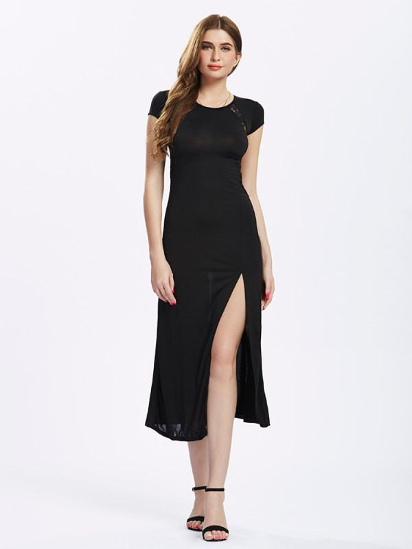 Women Split Long Black Lace Prom Maxi Slit Evening dress