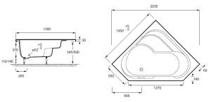 les dimensions d une baignoire balneo d angle