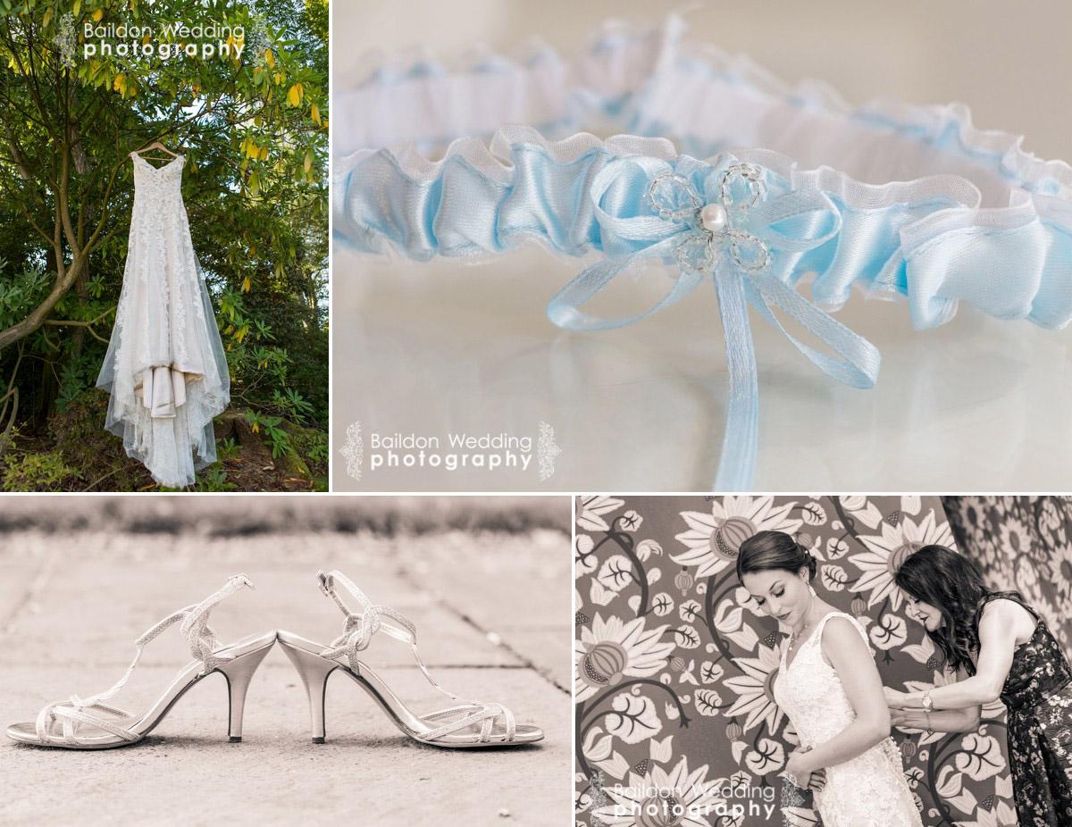 Dress, shoes, garter, bride getting ready