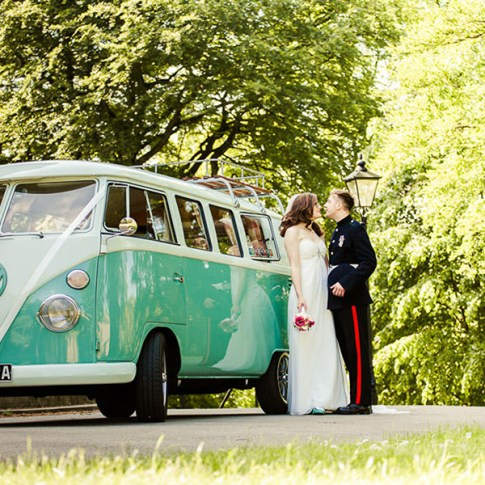 United reformed church wedding with camper van