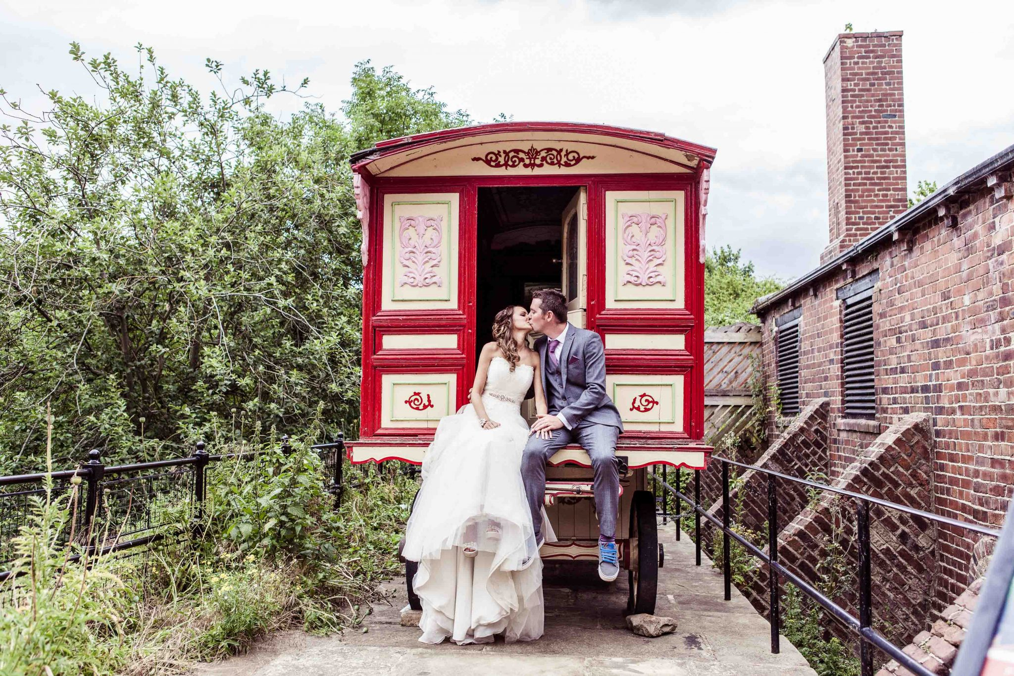 Gypsy caravan leeds wedding photography Thwaite Mills Stourton