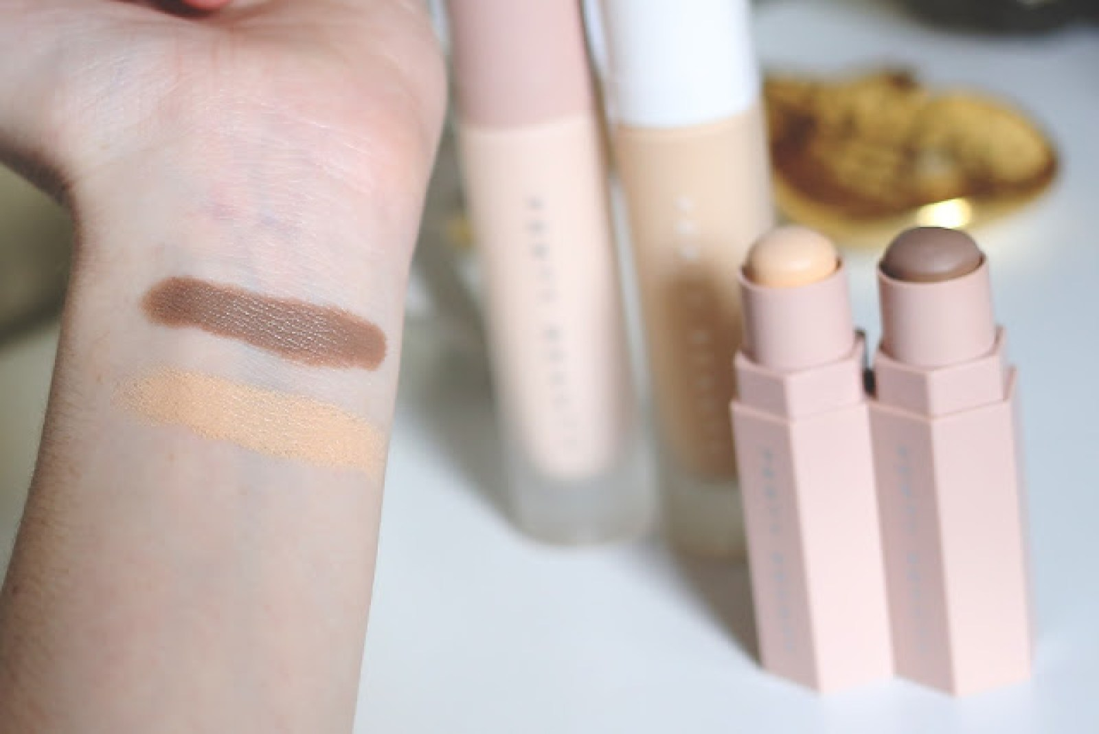 fenty beauty amber porcelain match stixs on pale nc15 skin