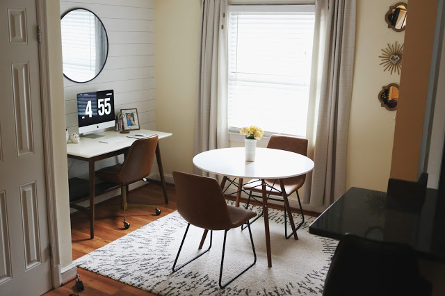 small space combo dining and office area of home
