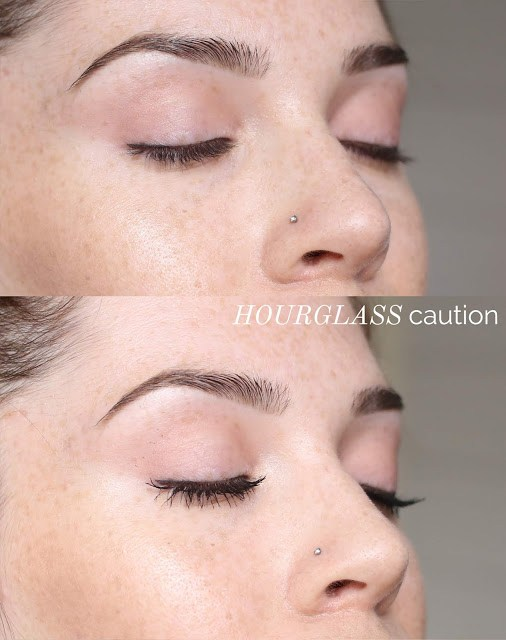 On-eye before and after swatch hourglass cosmetics caution mascara