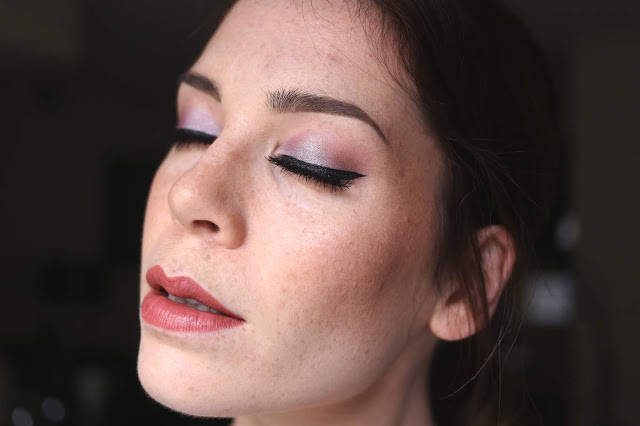 selfie showcasing lilac purple makeup with makeup geek pillow talk eyeshadow