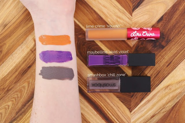 Arm swatches of Lime Crime Squash, Maybelline ivid Violet and Smashbox Chill Zone