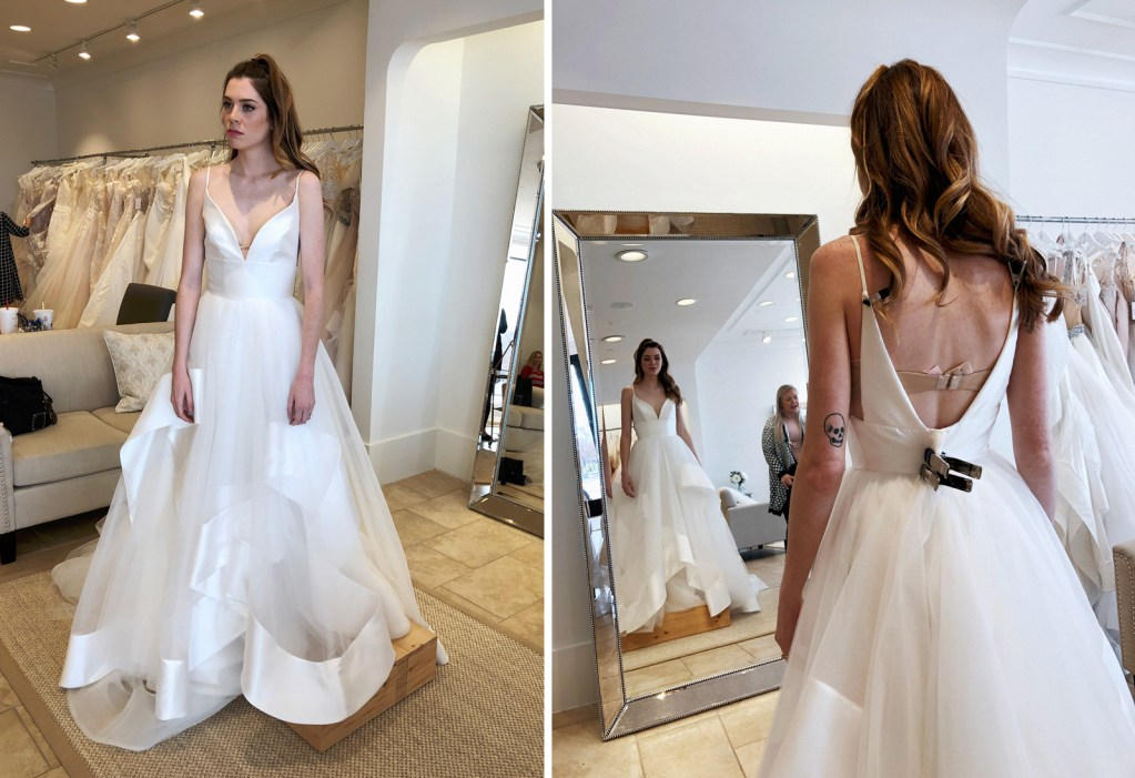 Wearing Hayley Paige 'Andi' gown