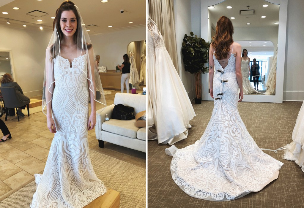 Wearing Hayley Paige 'West' gown