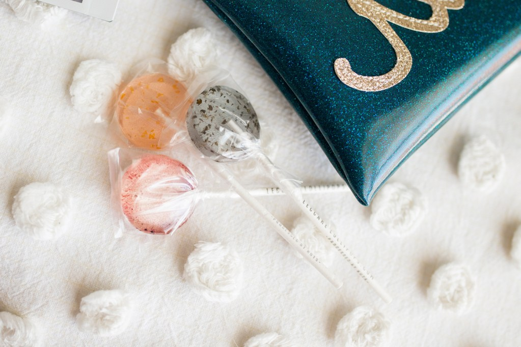 handcrafted lollipops in matching colors to our wedding theme