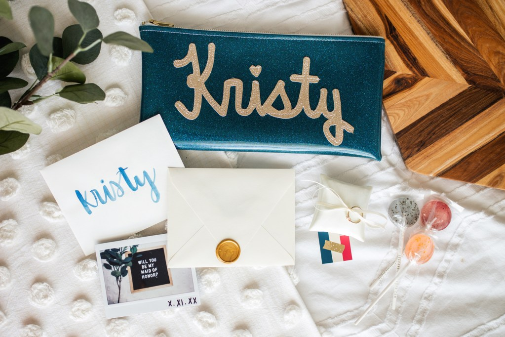 bridesmaids proposal package with gifts laid out
