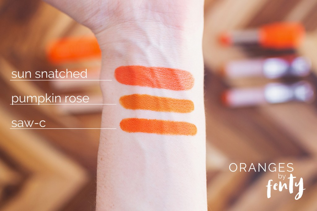 Fenty Beauty Orange Lipsticks in 'Sun Snatched', 'Pumpkin Rose' and 'Saw-C'