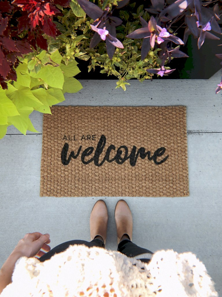 all are welcome door mat by shop bailey bee